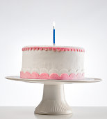 birthday cake on cakestand with one burning candle