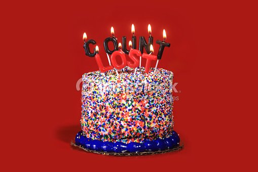Birthday Cake On Red Background With Burning Candles Stock Photo
