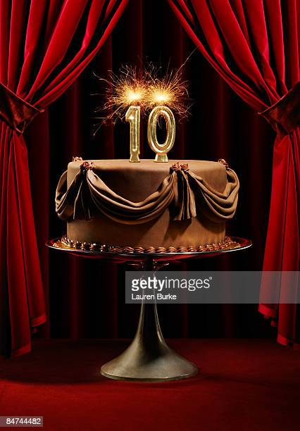 Birthday Cake on Stage with Number 10 Candles
