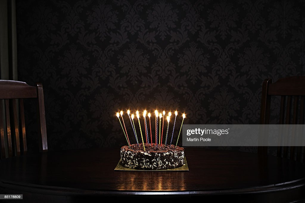 birthday cake on table in living room : Stock Photo
