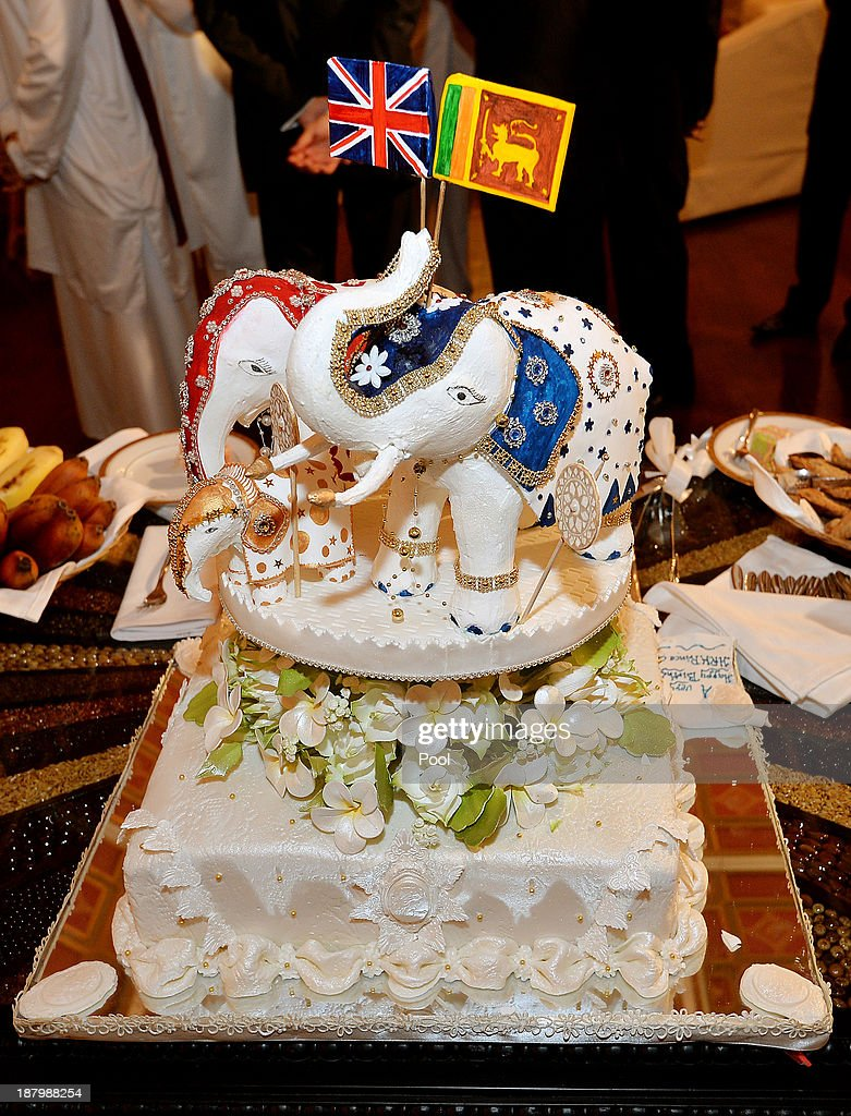 A birthday cake topped with three Elephants presented to Prince Charles, Prince of Wales by the President of Sri Lanka Mahinda Rajapaksa and his wife Shiranthi at the Presidents Palace on November 14, 2013 in Colombo, Sri Lanka. The Royal couple are visiting Sri Lanka in order to attend the 2013 Commonwealth Heads of Government Meeting.