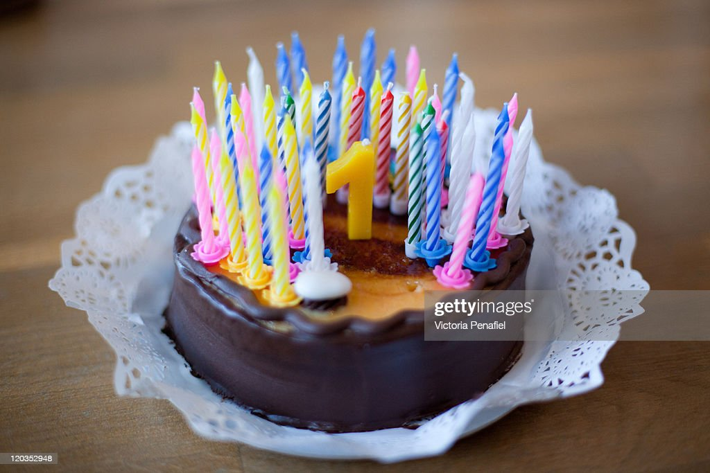 Birthday cake with 50 candles : Stock Photo
