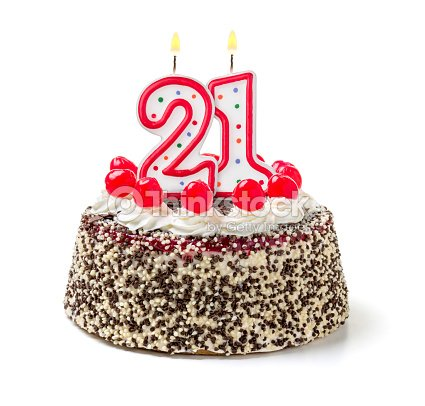 Birthday Cake With Burning Candle Number 21 Stock Photo
