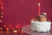 birthday cake with burning  candle