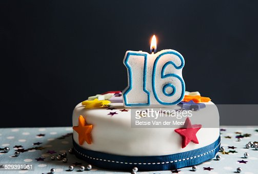 Birthday Cake With Candle Number 16 Stock Photo Getty Images