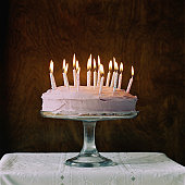 Birthday cake with candles burning