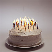 Birthday cake with candles lit