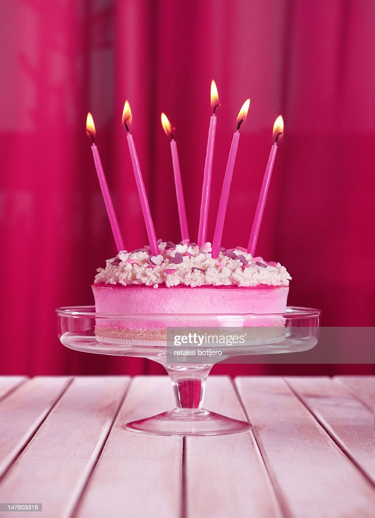 Birthday cake with candles : Stock Photo
