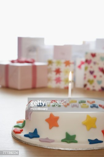 Birthday Cake with Cards and Gift : Stock Photo