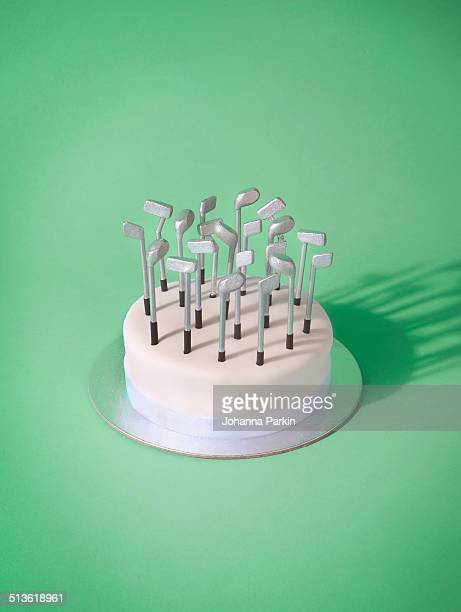 Birthday cake with golf club candles