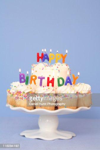 Birthday cake with Happy Birthday candles : ストックフォト