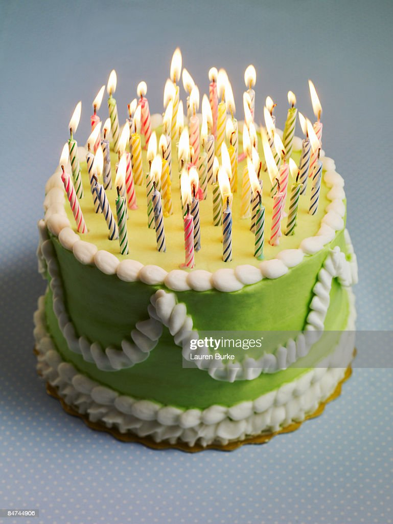 Birthday Cake with Many Candles : Stock Photo