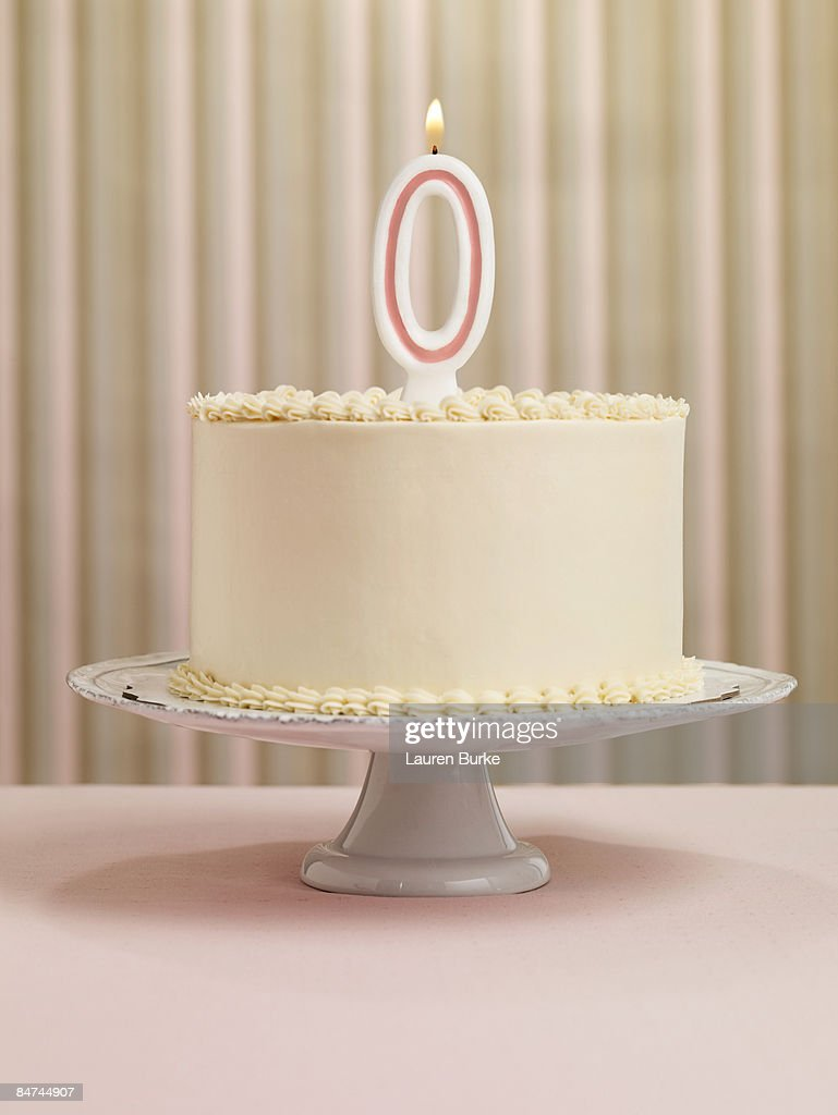 Birthday Cake with Number 0 Candle : Stock Photo