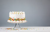 White Birthday cake with colorful Sprinkles over a neutral gray background.