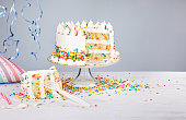 White buttercream confetti Birthday cake with colorful sprinkles