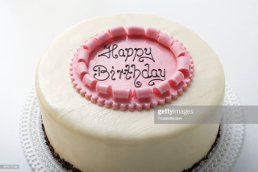 Birthday Cake With The Words Happy Birthday Stock Photo Getty Images - Words on cake for birthday