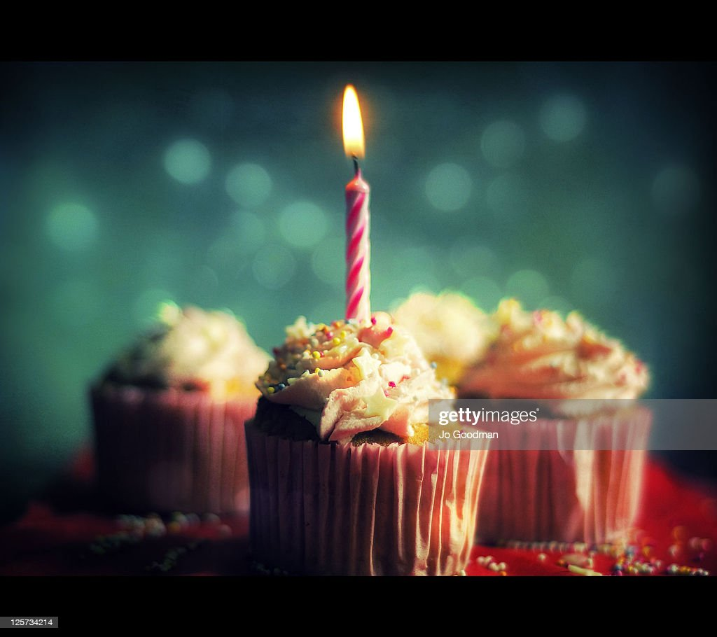 Birthday cakes and candles : Stock Photo