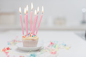 Birthday candles on cupcake