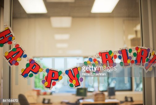 Birthday celebration banner at work : Stock Photo