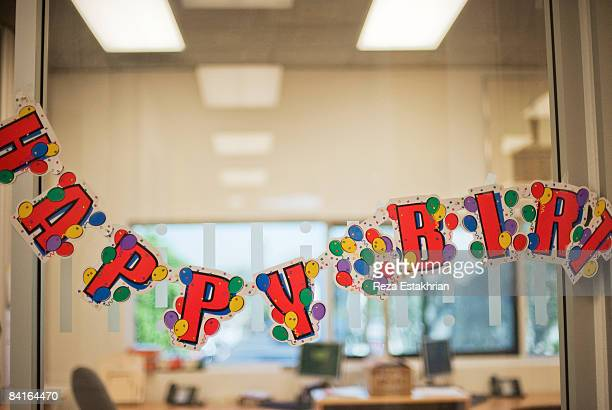 Birthday celebration banner at work