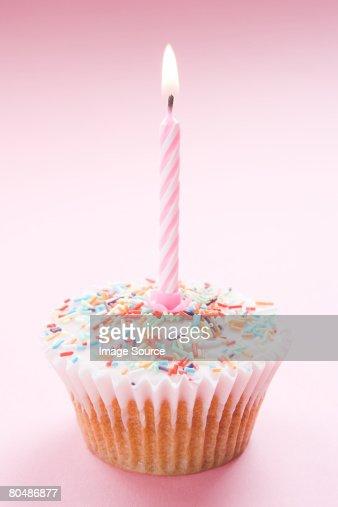 A birthday cupcake : Stock Photo