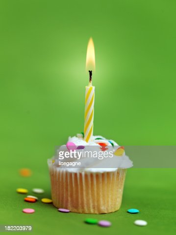 Birthday Cupcake with Candle : Stock Photo