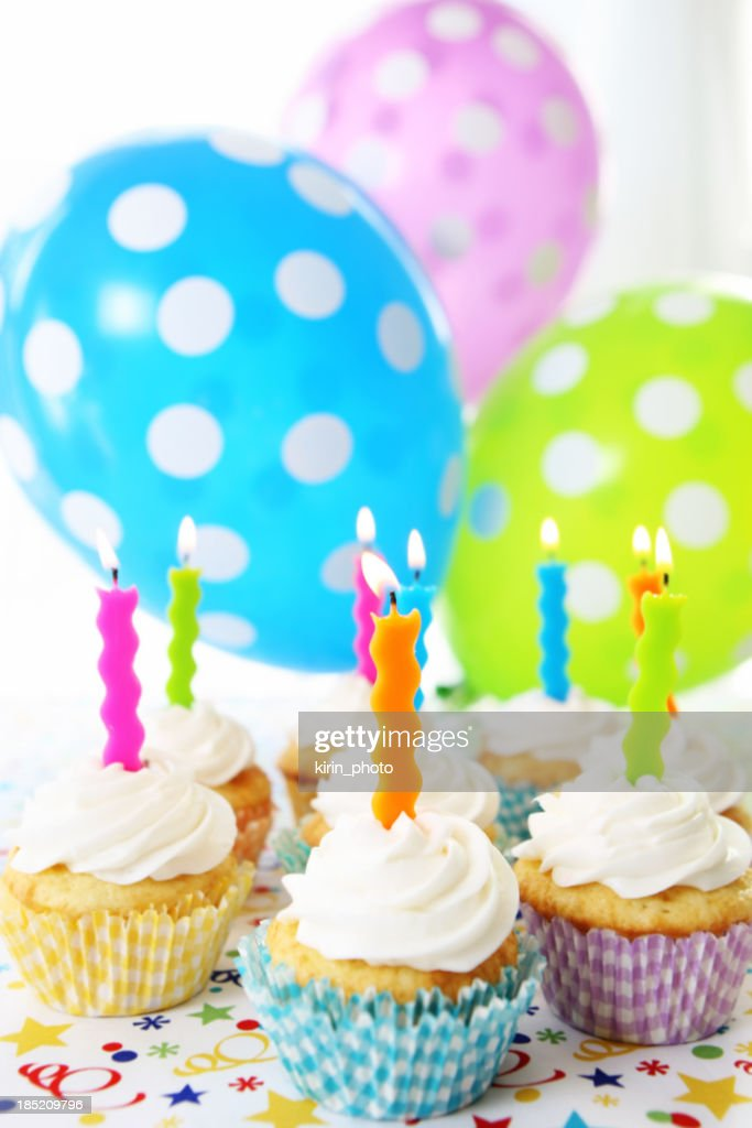 birthday cupcakes : Stock Photo