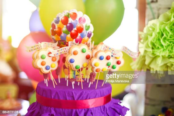 Birthday decoration with colorful cookies