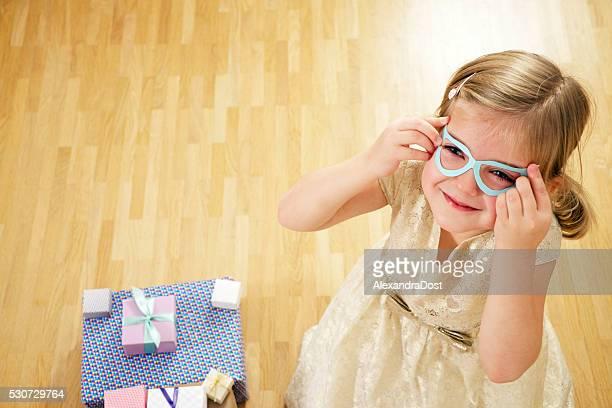 Birthday girl wearing glasses, Munich, Bavaria, Germany