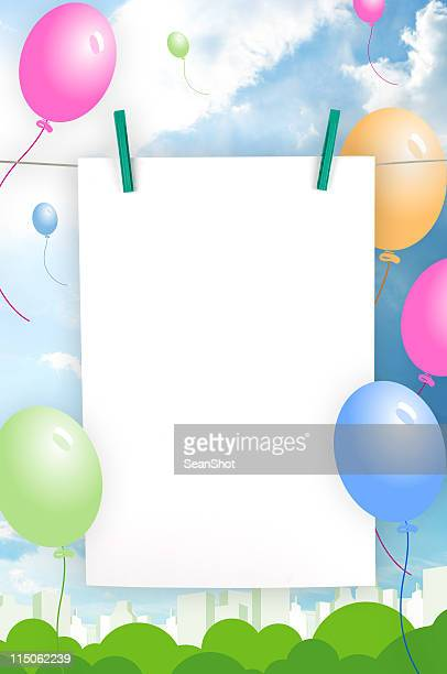 A birthday invitation template of a balloon frame