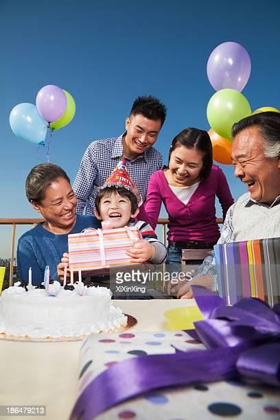 Birthday part, multi-generation family