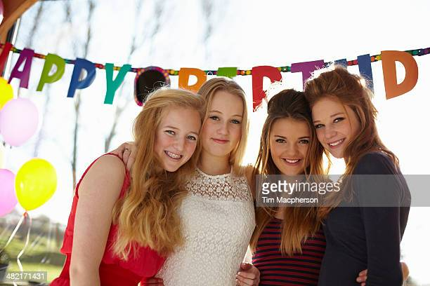 Birthday party and four teenage girls