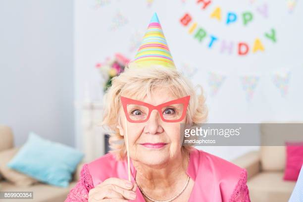 Birthday party of senior woman