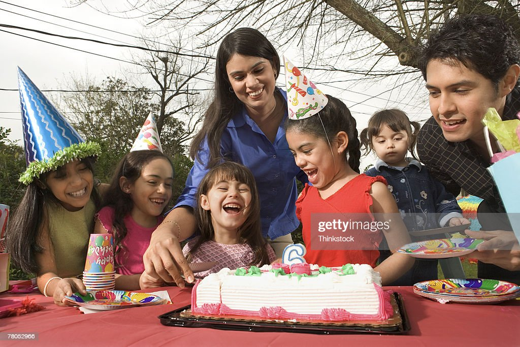 Birthday party outdoors : Stock Photo