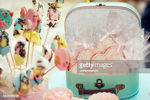 Birthday party table with sweets for kids : Stock Photo