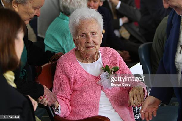 A birthday party was held at the Chapman Middle School for 100yearold Alma Driscoll as she is greeted by well wishers in the library which is named...
