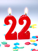 Birthday-anniversary red candle showing Nr. 22