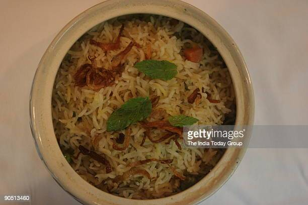 Biryani food at Marriott Welcomgroup hotel New Delhi cooked by chef Mohammad Kalim Qureshi