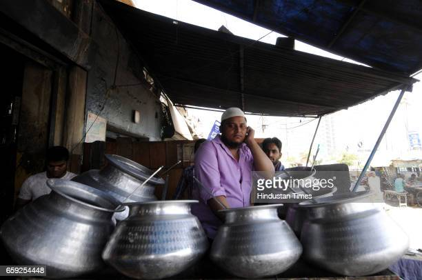 Biryani sellers facing difficulties to continue their business as meat supplier increased rates of meat on March 28 2017 in Noida India The Uttar...