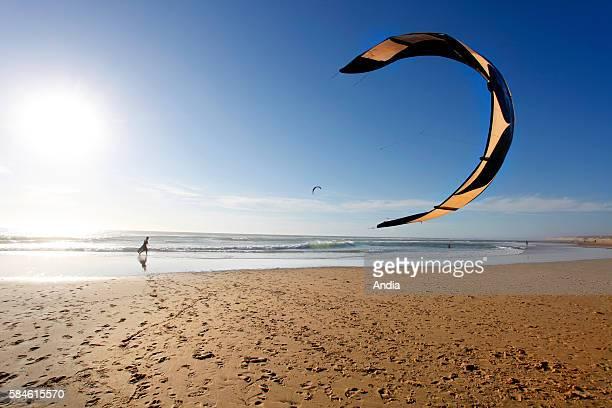 Kite surfing on the beach