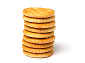 Biscuit cracker stack of yellow round isolated on white background