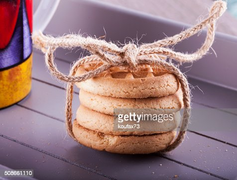 Biscuits bounded over tray : Stock Photo