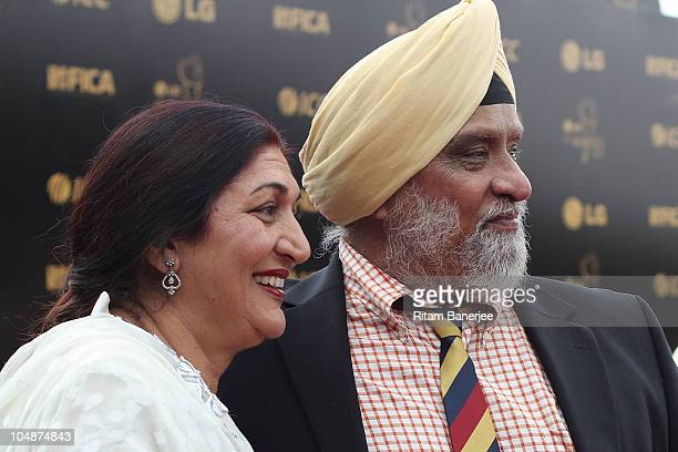 Bishan Singh Bedi with his wife during the ICC Annual Awards at the Red Carpet on October 6 2010 in Bangalore India