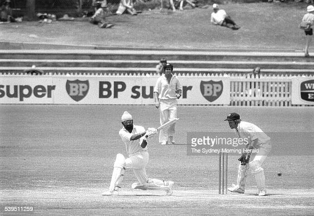 Bishen Singh Bedi sweeps Bob Simpson for 2 Australia vs India 5th Test Adelaide Oval 3 February 1978 SMH Picture by PURCELL