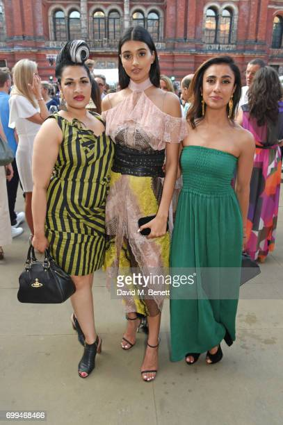 Bishi Bhattacharya Neelam Gill and Anita Rani attend the 2017 annual VA Summer Party in partnership with Harrods at the Victoria and Albert Museum on...