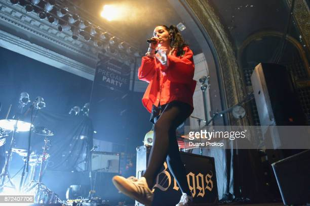 Bishop Briggs performs on stage during the Pandora Express Pregame Party at Newport Music Hall on November 9 2017 in Columbus Ohio