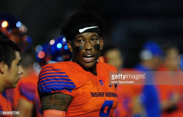 Bishop Gorman tight end Brevin Jordan looks on before the start of a prep football game between the Miami Central Rockets and the Bishop Gorman Gaels...