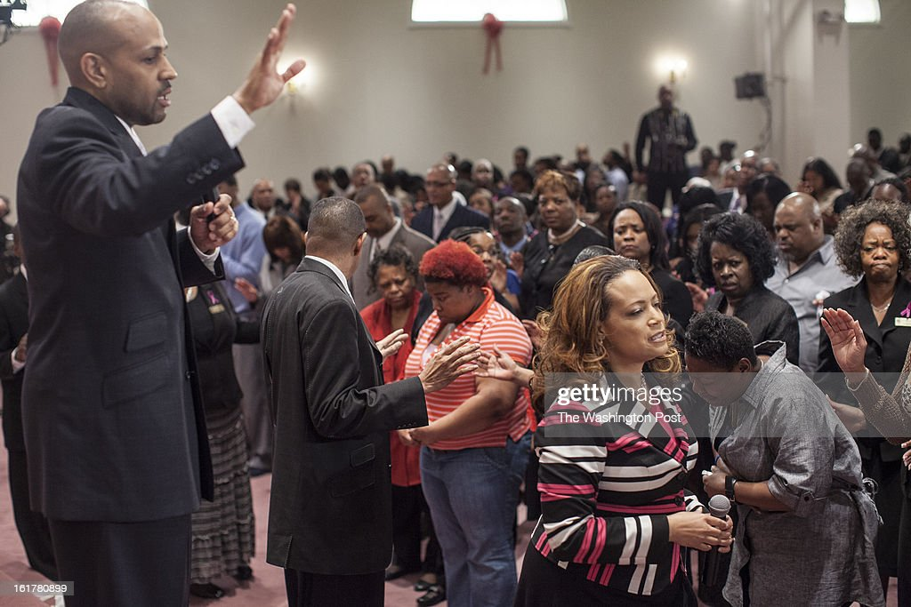 Bishop Lyle Dukes and Pastor Deborah Dukes during worship at Harvest Life Changers Church in Woodbridge, Virginia Sunday February 10, 2013. The Dukes have been married for 26 years and preach to a congregation of 8,000.