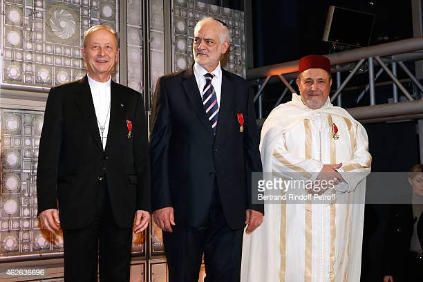 Bishop of Evry awarded Michel Dubost Rabbi of Ris Orangis awarded Michel Serfaty and Rector of the Mosque of Evry awarded Khalil Merroun attend HRH...