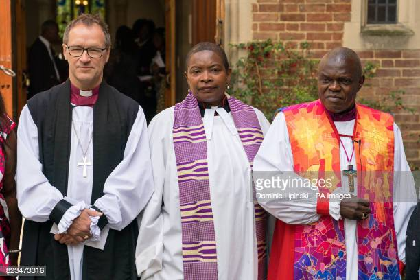 Bishop of Kensington Rt Revd Graham Tomlin Speaker's Chaplain Rev Preb Rose HudsonWilkin and the Archbishop of York Dr John Sentamu attend a memorial...